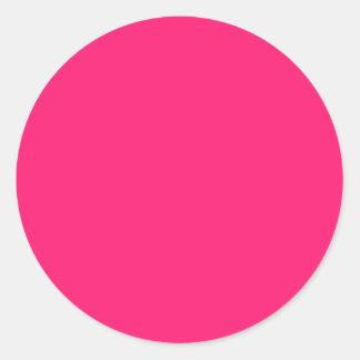 Sticker Rond Personnaliser de couleur solide de rose choquant