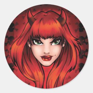 Sticker Rond Petit diable avec le personnage de dessin animé de