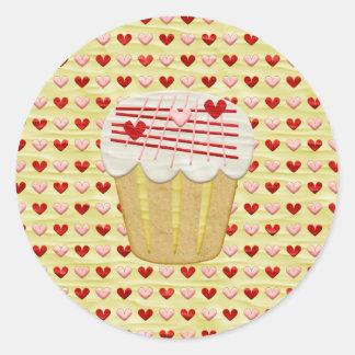 Sticker Rond Petit gâteau de Valentine avec des bougies de