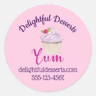 Sticker Rond Petit gâteau givré par rose Yum ! Affaires