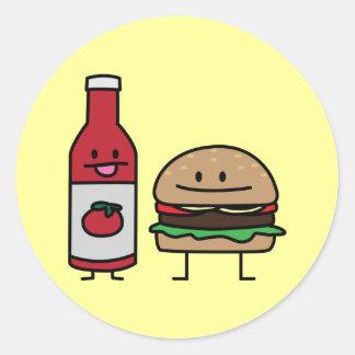 Sticker Rond Petit pâté de petit pain d'amis d'aliments de
