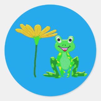 Sticker Rond petite grenouille et fleur jaune