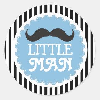 Sticker Rond Petites rayures de noir de baby shower d'homme de