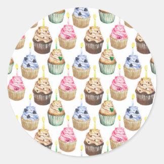 Sticker Rond Petits gâteaux d'aquarelle