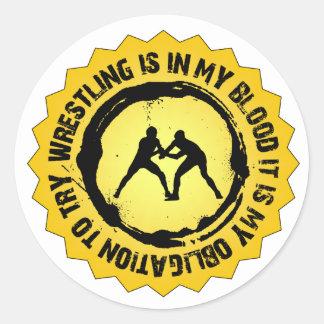 Sticker Rond Phoque de lutte fantastique