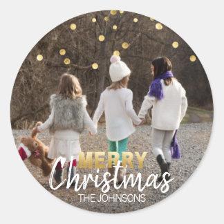 Sticker Rond PHOTO blanche du Joyeux Noël | de confettis d'or