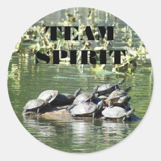 Sticker Rond Photo de tortue d'esprit d'équipe de motivation