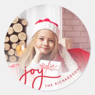 Sticker Rond Photo simple de la joie   de Noël