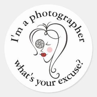 Sticker Rond Photographe féminin