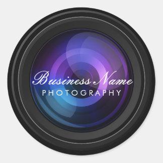 Sticker Rond Photographie de professionnel d'objectif de caméra