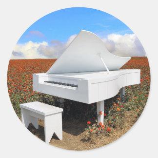 Sticker Rond Piano à queue dans le domaine de zinnia