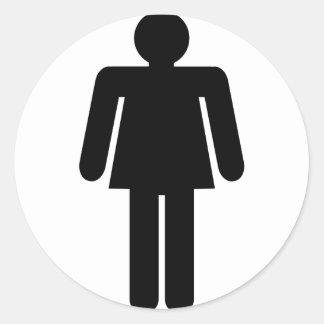 Sticker Rond Pictogramme de femme