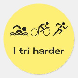 Sticker Rond Pictogrammes de triathlon et jaune de légende