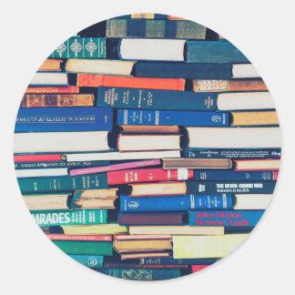 Sticker Rond Pile de livres