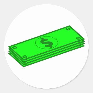 Sticker Rond Piles d'argent liquide