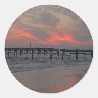 Sticker Rond Pilier et coucher du soleil - île de chêne, OR