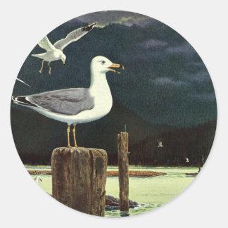 Sticker Rond Pilier été perché par mouette vintage, animaux