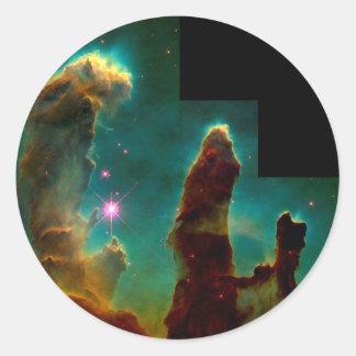 Sticker Rond Piliers de création - image de télescope spatial