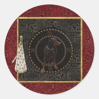 Sticker Rond Pinscher de dobermann, forme ronde, chien dans le