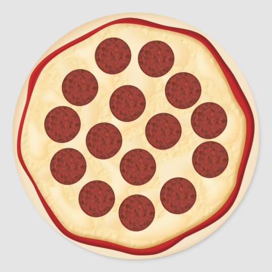 Sticker rond pizza avec des pepperoni for Fourniture pizzeria