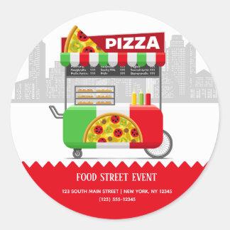 Sticker Rond Pizza de rue de nourriture