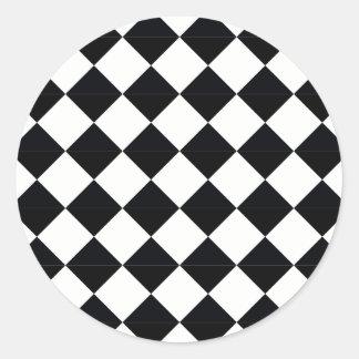 Sticker Rond Plaid de Pierrot noir et blanc