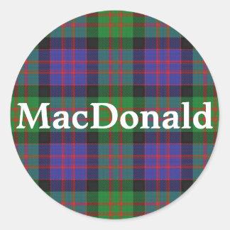 Sticker Rond Plaid de tartan écossais de MacDonald de clan