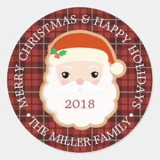 Sticker Rond Plaid du Joyeux Noël | bonnes fêtes Père Noël