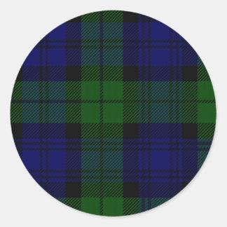 Sticker Rond Plaid noir de vert bleu de tartan de clan de