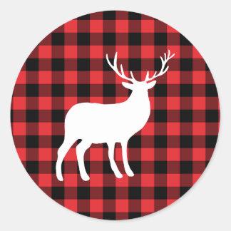 Sticker Rond Plaid rouge et vacances blanches du mâle |