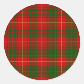 Sticker Rond Plaid vert rouge de tartan de clan de Bruce