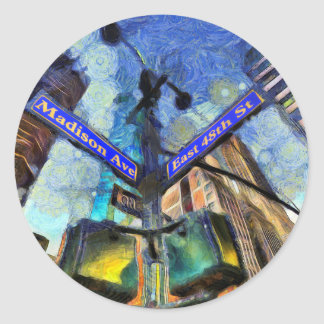 Sticker Rond Plaque de rue Van Gogh de New York