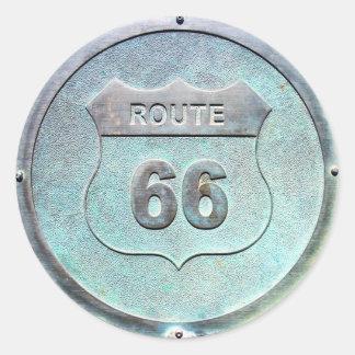 Sticker Rond Plaque grise de l'itinéraire 66 en métal