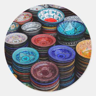 Sticker Rond Plats marocains au marché