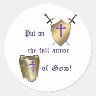 Sticker Rond Pleine armure de Dieu