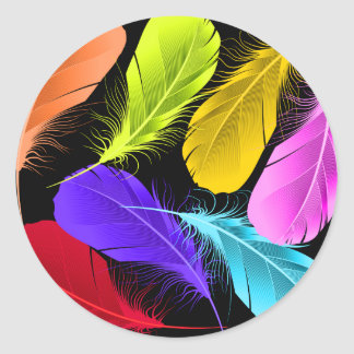 Sticker Rond Plumes colorées sauvages vives audacieuses sur le