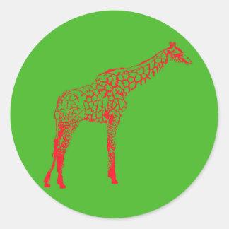 Sticker Rond Pochoir rouge de girafe