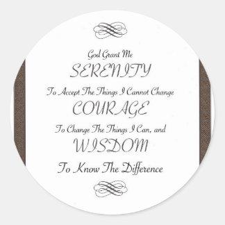 Sticker Rond poème de prière de sérénité avec l'équilibre