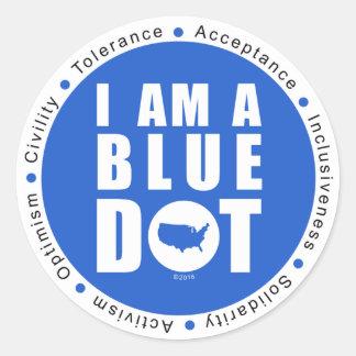 Sticker Rond Point bleu Etats-Unis grand
