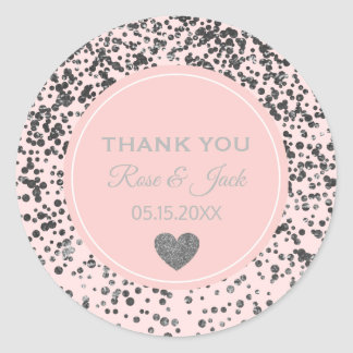 Sticker Rond Points roses de confettis de parties scintillantes