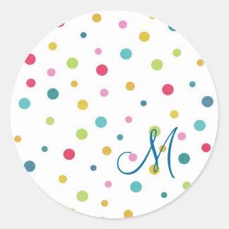 Sticker Rond Pois différent coloré girly mignon de tailles