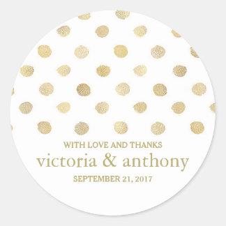 Sticker Rond Pois moderne de blanc et d'or épousant le Merci