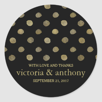 Sticker Rond Pois moderne de noir et d'or épousant le Merci