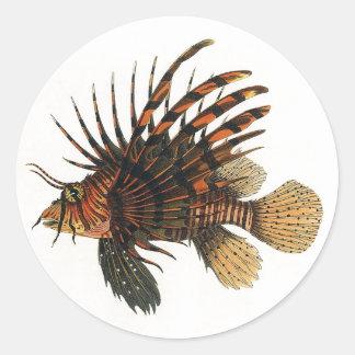 Sticker Rond Poissons vintages de Lionfish, animal marin de la