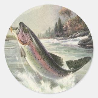 Sticker Rond Poissons vintages de truite arc-en-ciel, pêche de