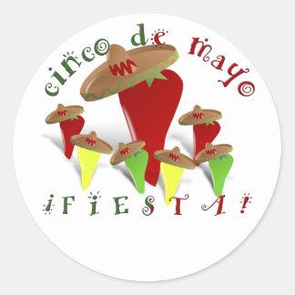Sticker Rond Poivrons de danse de Cinco De Mayo