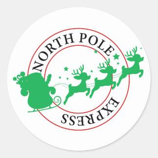 Sticker Rond Pôle Nord Père Noël exprès et renne