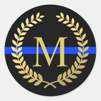 Sticker Rond Police mince de guirlande d'or de Faux de