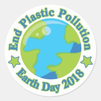 Sticker Rond Pollution de plastique d'extrémité du jour de la