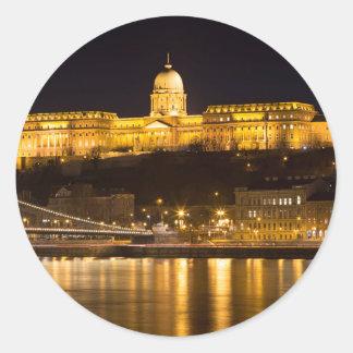 Sticker Rond Pont à chaînes et château de Budapest